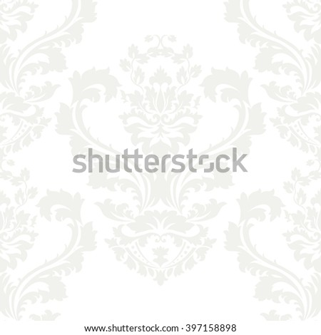 Vector damask pattern ornament. Elegant luxury texture for wallpapers, fabrics or texture backgrounds.  Exquisite floral baroque element. White cloud color - stock vector