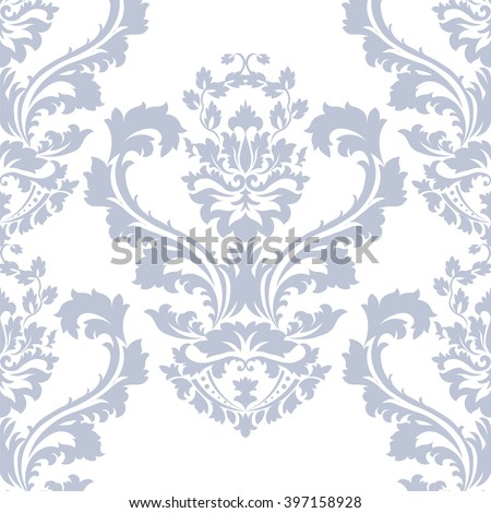Vector damask pattern ornament. Elegant luxury texture for wallpapers, fabrics or texture backgrounds.  Exquisite floral baroque element. Serenity blue color - stock vector