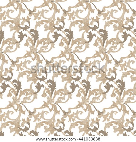 Vector damask pattern ornament. Exquisite Baroque element template. Classical luxury fashioned damask ornament, Royal Victorian texture for wallpapers, textile, wrapping. Almond beige color - stock vector