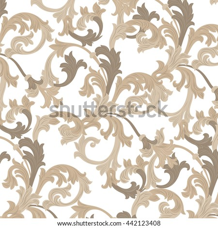 Vector damask pattern ornament. Exquisite Baroque template. Classical luxury fashioned damask ornament, Royal Victorian texture for wallpapers, textile, wrapping. Almond beige color ornament - stock vector