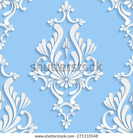 Vector Damask Seamless Background with 3d Floral Pattern for Greeting or Invitation Card - stock vector