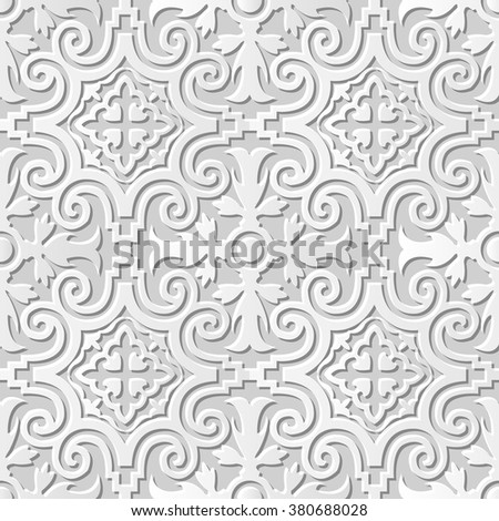 Vector damask seamless 3D paper art pattern background 027 Spiral Round Kaleidoscope