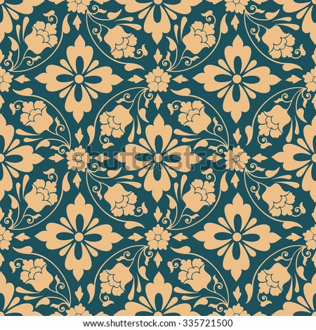 Vector damask seamless pattern background. Classical luxury old fashioned damask ornament, royal victorian seamless texture for wallpapers, textile, wrapping. Exquisite floral baroque template. - stock vector