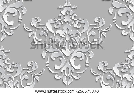 Vector damask seamless pattern background. Elegant luxury texture for wallpapers, backgrounds and page fill. 3D elements with shadows and highlights. - stock vector