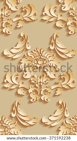 Vector damask seamless pattern background. Elegant luxury texture for wallpapers, backgrounds and page fill. 3D elements with shadows and highlights.