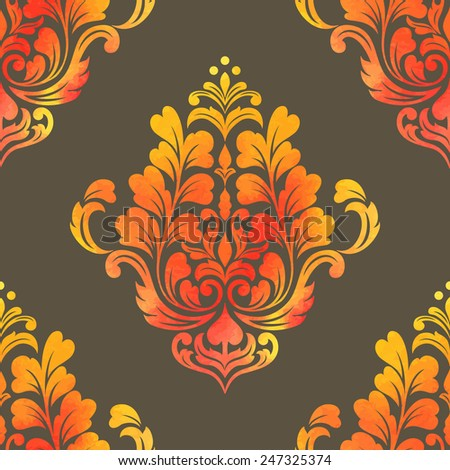 Vector damask seamless pattern element. Elegant luxury texture for wallpapers, backgrounds and page fill. Made with watercolors. - stock vector
