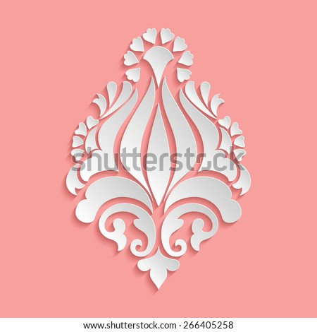 Vector damask volumetric ornamental element. Elegant floral abstract element for design. Perfect for invitations, cards etc. - stock vector