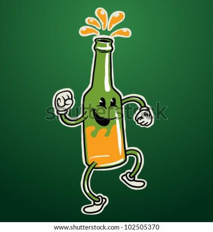 vector dancing  beer bottle - stock vector
