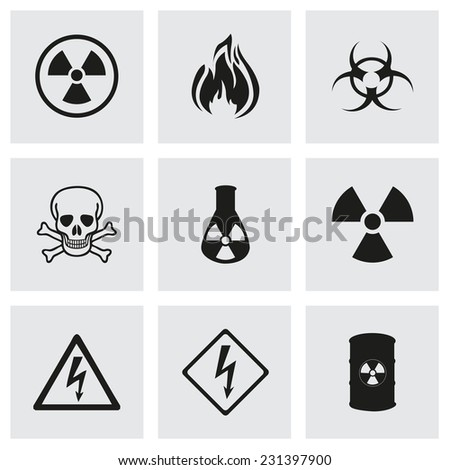 Vector danger icons set on grey background - stock vector