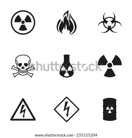 Vector danger icons set on white background - stock vector