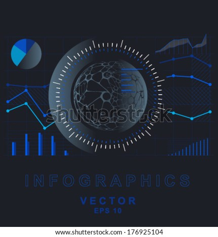 Vector dark blue abstract infographics - stock vector