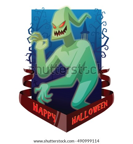 "Vector dark blue card ""Happy Halloween"" with bare trees, a cemetery, a red banner and with cartoon image of funny light green ghost with red eyes waving his hand on white background. Halloween. Spirit"