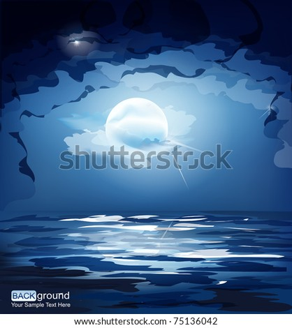 vector dark blue night sky, the moon and the sea - stock vector