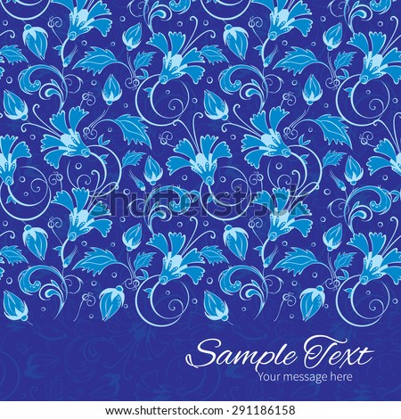 Vector dark blue turkish floral horizontal border card template
