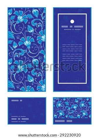 Vector dark blue turkish floral vertical frame pattern invitation greeting, RSVP and thank you cards set - stock vector