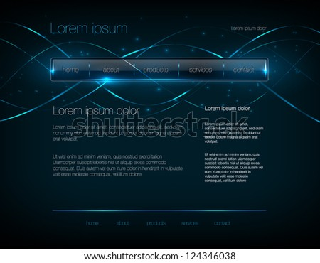 Vector dark blue web site design template with glossy navigation bar and modern glowing background - stock vector