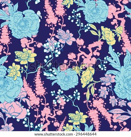 Vector Dark Blue Yellow Pink Kimono Floral Seamless Pattern - stock vector