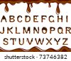 Vector dark chocolate alphabet on a white background - stock vector