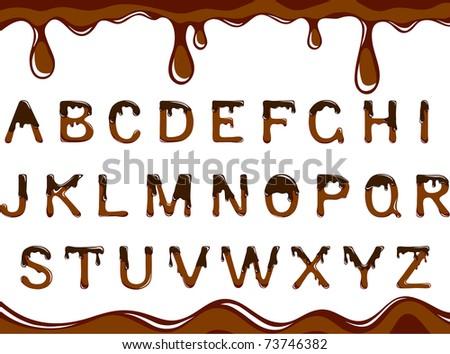 Vector dark chocolate alphabet on a white background - stock vector