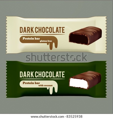vector dark chocolate wrappers - stock vector