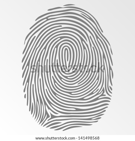 Vector dark fingerprint on gray background - stock vector