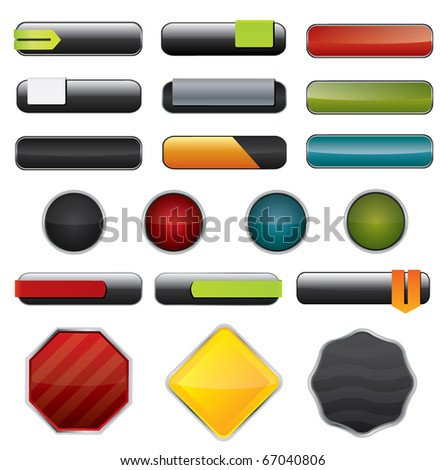 Vector dark glossy buttons and website elements - stock vector