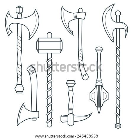 vector dark gray outline cold medieval weapons set with ax axe hammer mace halberd battle poleax