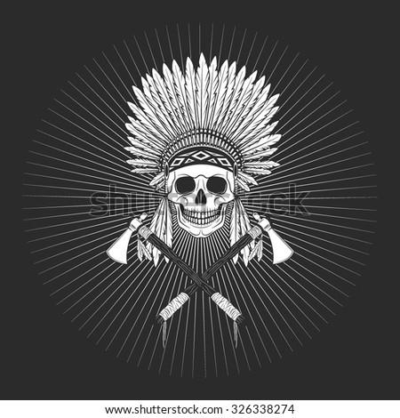 Vector dark injun skull logo - stock vector