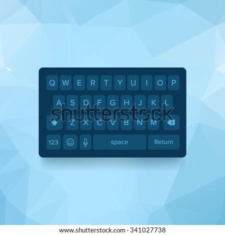 Vector dark keyboard of smartphone, alphabet buttons - stock vector