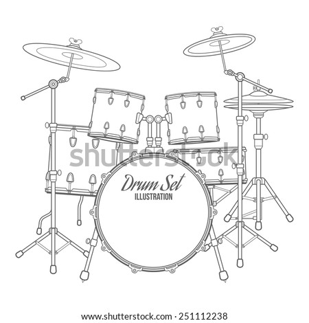 vector dark outline drum set on white background bass tom-tom ride cymbal crash hi-hat snare stands - stock vector