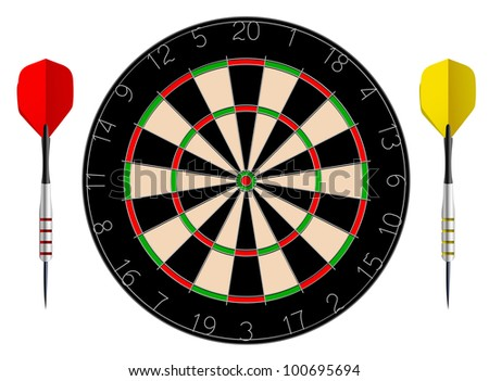 Vector dartboard isolated on white background - stock vector