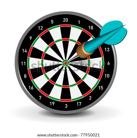 Vector Dartboard with Dart on white background - stock vector
