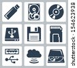 Vector data storage icons set - stock vector