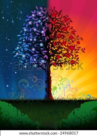 Vector day and night tree (.JPG version id 44515195, other landscapes are in my gallery)