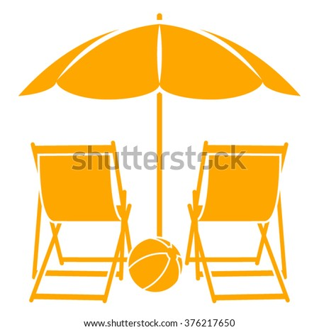 vector deck chairs under beach umbrella isolated on white background - stock vector