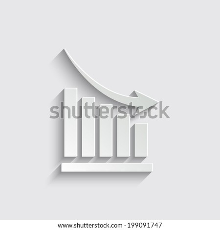Vector declining graph icon on a grey background
