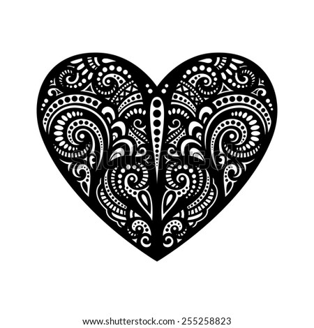 Vector Deco Abstract Heart. Hand Drawing Patterned Design