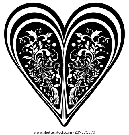 Vector Deco Floral Heart on Gray Background. Design element. Black and White - stock vector