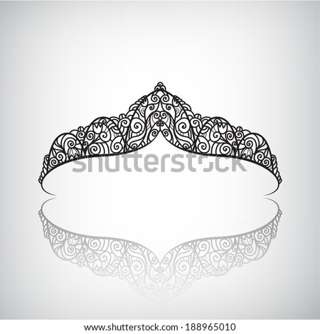 vector decorated crown icon, logo isolated - stock vector