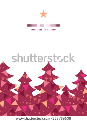 Vector decorations flags Christmas tree silhouette pattern frame card template - stock vector