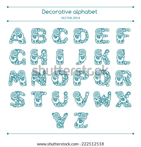 Vector decorative alphabet set for greeting cards, invitations - stock vector