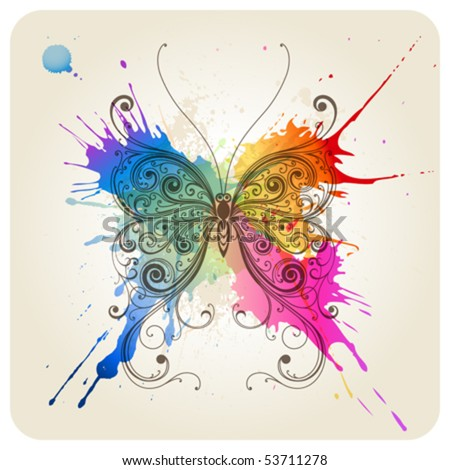 Vector decorative butterfly - stock vector