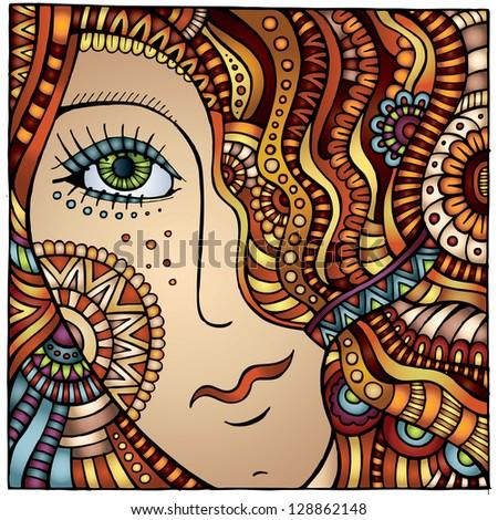 Vector decorative cartoon red hair girl illustration - stock vector