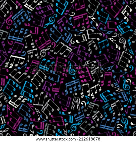 Vector decorative colorful seamless pattern, striped musical notes and treble clefs on black background. - stock vector