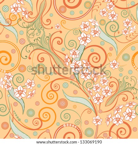 Vector - decorative curly seamless background with flowers and leaves