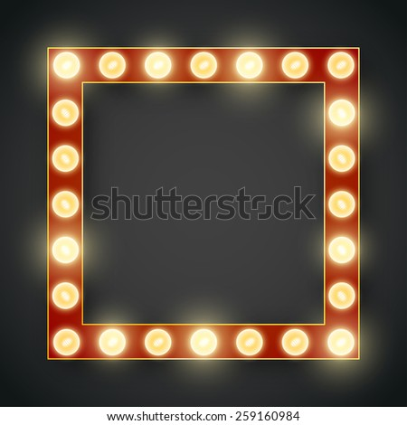 Vector decorative 3d volumetric  frame background lit up with electric bulbs. Retro style vector - stock vector