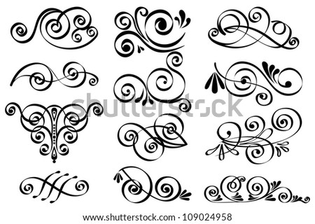 Vector decorative design elements. Calligraphic elements and page decoration - stock vector