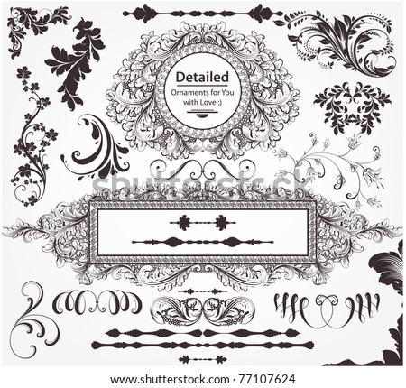 Vector decorative design elements: page decor, frames, banners & ornaments - stock vector