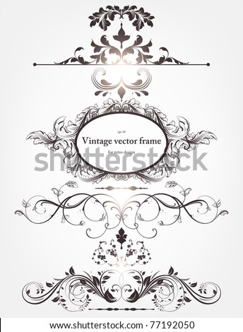Vector decorative design elements: page decor, frames, borders, banners & floral ornaments. With retro frame. - stock vector