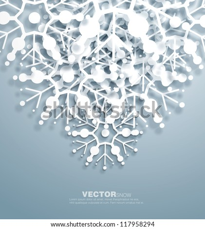 Vector   decorative  design of overlapping  snowflakes . The shadows are entirely vector based . - stock vector
